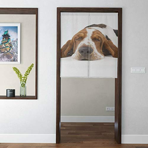 Yngxil Japanese Short Style Curtain Bedroom Basset Hound with Flying Ears Master Bedroom Curtains Door Tapestry for Home Decor