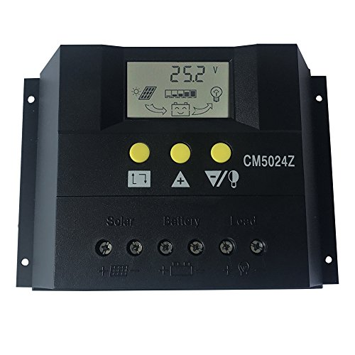 KRXNY 50A PWM Solar Charge Controller 12V 24V Auto Battery Regulator Solar Panel Charging Regulators With LCD Monitor Max 50V PV Input by KRXNY