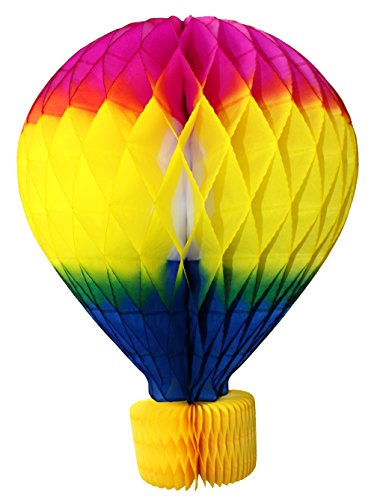 16 Inch Honeycomb Tissue Paper Hot Air Balloon Decoration, Multi-Colored (1 piece)]()