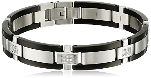 Men's Two-tone Stainless Steel Diamond Bracelet (0.25 cttw, H-I Color, I2-I3 Clarity) , 8.5""