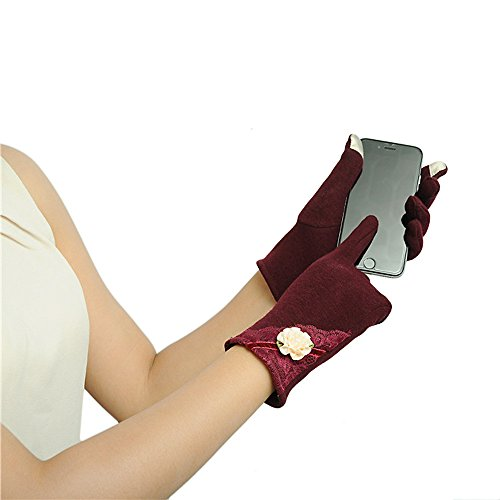 Gloves,NOMENI Womens Touch Screen Winter Warm Wrist Gloves Mittens (Red) by NOMENI