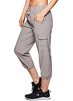 Rbx Active Women's Lightweight Body Cargo Drawstring Woven Pant Khaki M 3