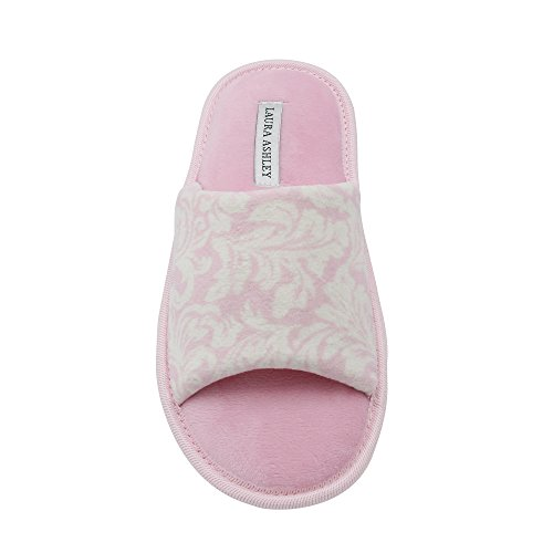 Ashley Womens Slides - Laura Ashley Ladies Open Toe Printed Slippers with Memory Foam Insole in Pink Floral, Size L