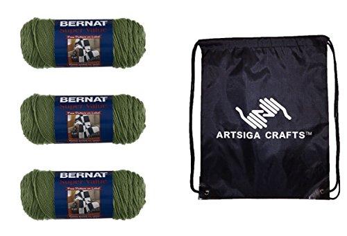 Bernat Knitting Yarn Super Value Solid Forest Green 3-Skein Factory Pack (Same Dyelot) 164053-53243 Bundle with 1 Artsiga Crafts Project Bag
