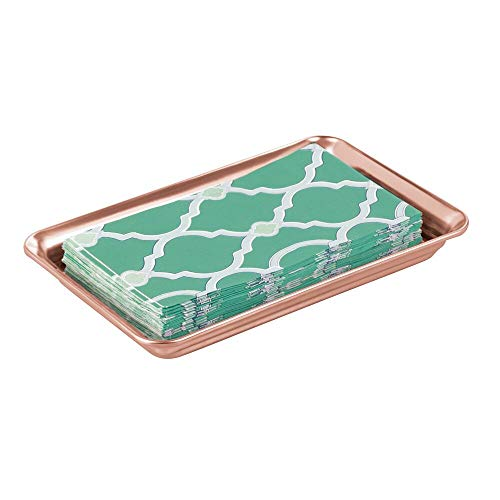 (mDesign Metal Storage Organizer Tray for Bathroom Vanity Countertops, Closets, Dressers - Holder for Watches, Earrings, Makeup Brushes, Reading Glasses, Perfume, Guest Hand Towels - Rose Gold)