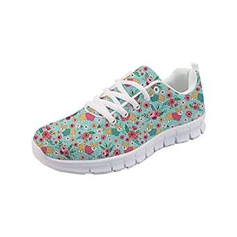 Showudesigns Blue Sport Running Sneaker Women Walking Shoes Corgi Flower Print