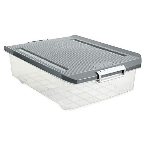 Tatay 1151222 Caja de Almacenamiento Multiusos Bajo Cama con Tapa, 32 l de Capacidad, Plastico Polipropileno Libre de BPA, Transparente con Tapa Gris, 40 x 56 x 17,5 cm