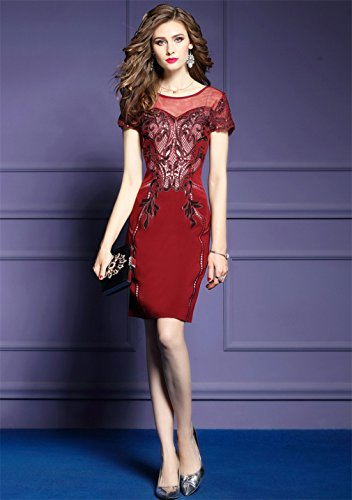 Body cotyledon Dress Women`s Hip Package Dresses Embroidery Con Mesh Red rtxP8qtpw