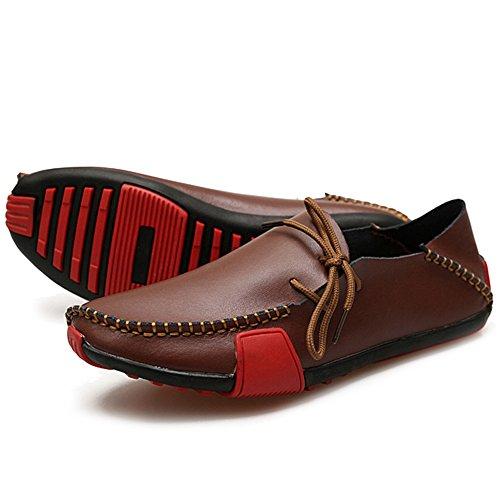 PU Zapatos La Cubierta Zapatos Conducción Brown Barco Hombres De MERRYHE De Mocasines De De De Tamaño De Zapatos De Negocios Casuales De Zapatos Los Los Planos De Cuero De Gran dwYdqOZ1AX