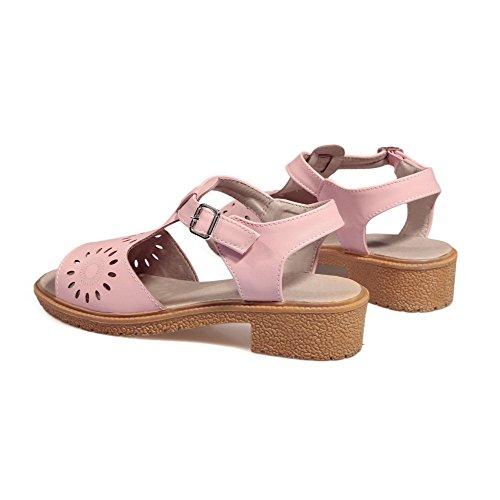 VogueZone009 Women's Buckle Low-Heels PU Solid Open Toe Sandals Pink 1Agvtv