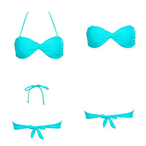 Ekouaer Women's Strappy Twist Bandeau Bikini Top, Light Blue, US X-Large/Tag Size 16