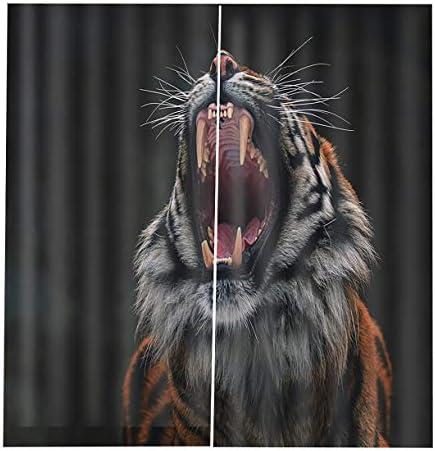 QinKingstore 漫画ブラックアウト3Dウィンドウカーテン動物クッションカーテン150 * 166cm現代のホームデコレーション