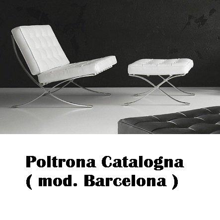 Stones Poltrona Catalogna vera pelle (mod. barcelona) con Pouf ...