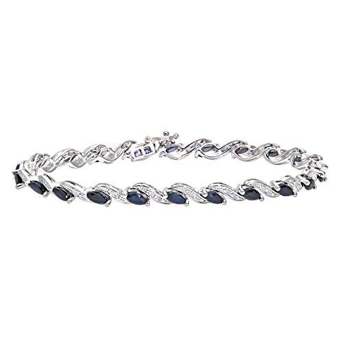 Revoni Bague en or blanc 9carats-Mesdames Diamant & Saphir Bracelet
