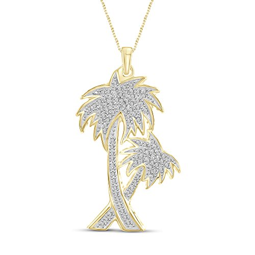 White Diamond Accent 14kt Gold Plated Brass Palm Tree Pendant (White Gold Palm Tree Necklace)