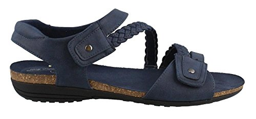 Easy Street Women's Zone Flat Sandal, Navy, 7.5 2W US from Easy Street