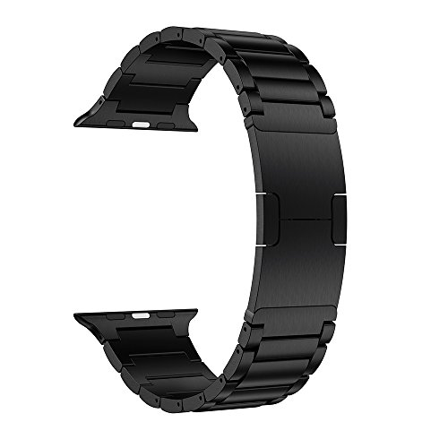 LDFAS Apple Watch Series 3 Band, 42mm Stainless Steel Metal Link Bracelet Strap for Apple Watch Series 3 / 2 / 1 - Space Black by LDFAS