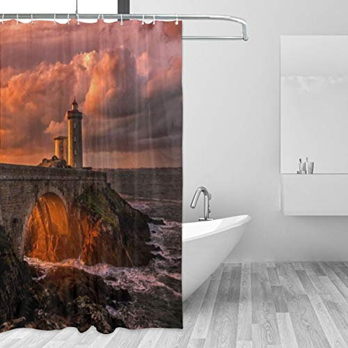 Bridges Rock Gym Halloween (Washable Shower Curtain for Home Bedroom, Building Nature Bridge and Lighthouse with Waves and Sunset Bath Curtains with 12 Plastic Hooks, Unique Opaque Bathroom Curtains, 72