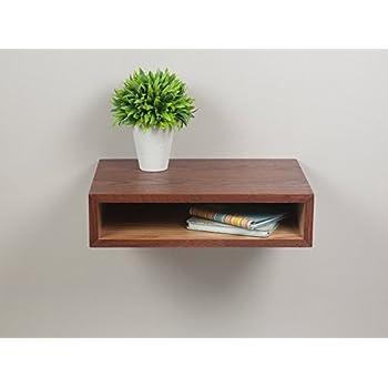 Slim Open Shelf Nightstand, Floating Bedside Table, Wall Mount Side Table
