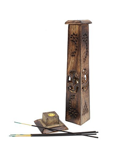 Homey Hand Carved Mango Wood Incense Stick Burner Holder Tower 12 x 3 inches