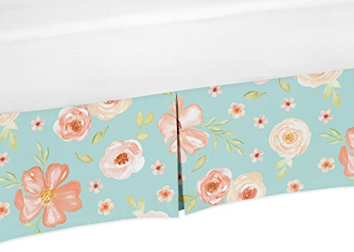 (Sweet Jojo Designs Turquoise and Peach Baby Girl Pleated Crib Bed Skirt Dust Ruffle for Watercolor Floral Collection - Pink Rose Flower)