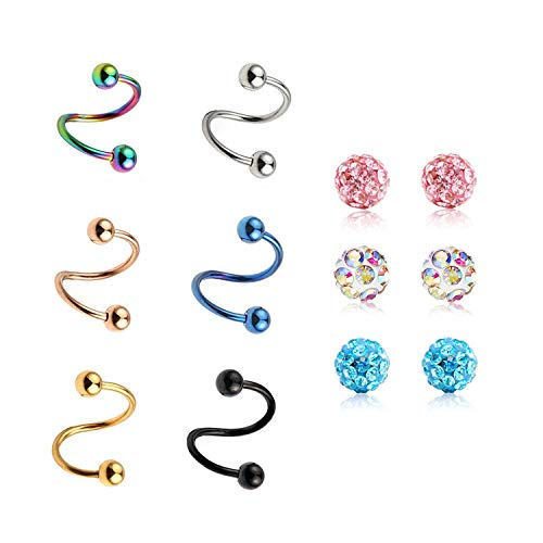 JFORYOU 16G Czech Crystal Eyebrow Cartilage Ear Studs/Ear Rings, S-Type (The Man With The Twisted Lip Setting)