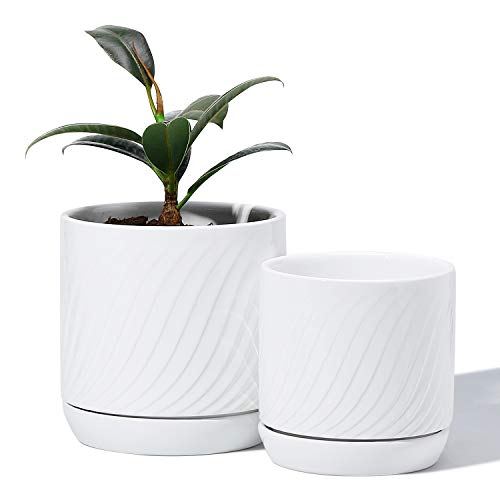 POTEY 053301 Ceramic Planter Pots - Glazed Modern Planters Flower Pot Indoor Bonsai Container with Drainage Holes & Saucer for Plants Aloe( 5.1 & 4.2 Inch, Shiny White, Set of 2, Plants Not Included)