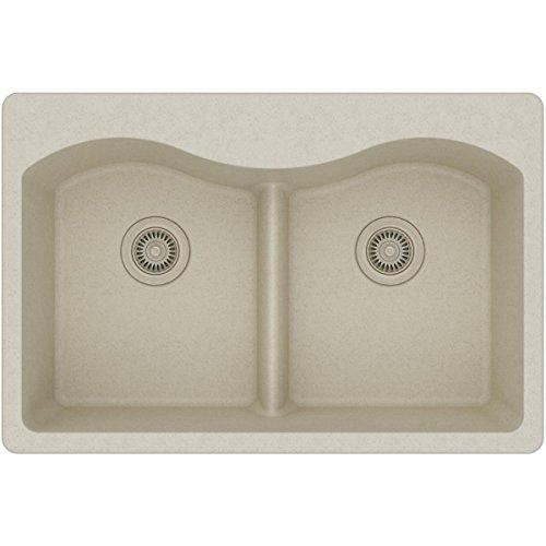 Elkay Quartz Classic ELGLB3322BQ0 Bisque Equal Double Bowl Top Mount Sink with Aqua Divide