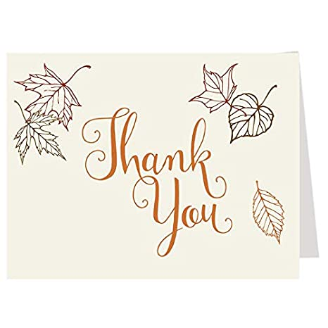 Fall Thank You Cards Bridal Wedding Shower Autumn