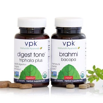 Brahmi & Triphala Organic Ayurvedic Bundle | 2x 60 Herbal Tablet Bottles | All-Natural Formulations to Boost the Brain & Balance Digestion