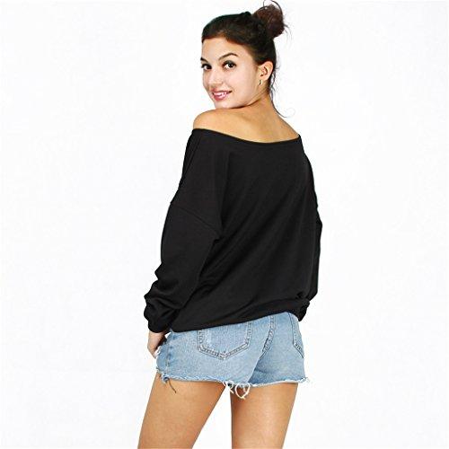 Jiayiqi Mujeres Camiseta Divertida Impresión Off El Hombro Sudadera Slouchy Jerseys Lámpara de calabaza