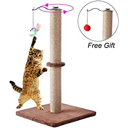 "BINGPET Cat Scratching Post 24"" Sisal Kitten Scratcher with Hanging Mouse Toy by"