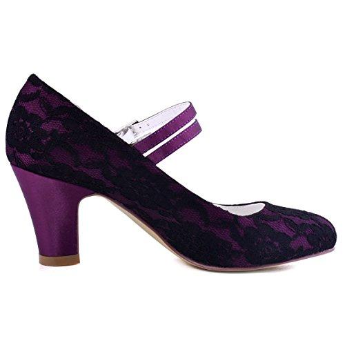 Double Toe Black Mid Straps Heels Shoes Lace Pumps Bridal Buckle ElegantPark Women HC1708 Closed Wedding q6wItF0