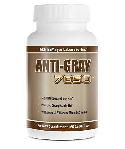 Anti-gray 7050 Hair 60 Capsules - Decrease Gray Hair - Restore Natural Hair Color - Contains Essential B Vitamins Minerals and Herbs 1 bottle
