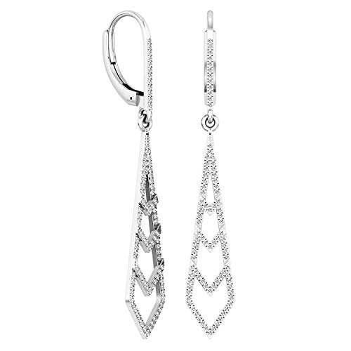 Dazzlingrock Collection 0.35 Carat (ctw) 14K Round Diamond Ladies Kite Shape Dangling Drop Earrings 1/3 CT, White Gold