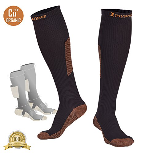 - Thx4 Copper Sox Compression Crossfit Socks (15-20mmHg) for Men &Women, Guaranteed Copper Infused Stockings Guard for Running, Athletic, Shin Splint, Nursing, Travel-1 PAIR-large&XL