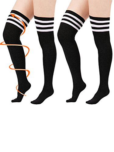 Women Athlete Over Knee Kawaii Plus Size Cosplay Stockings Girls Extra Long Black Thigh High Tights Tube Socks 2 Pairs Torrid Black