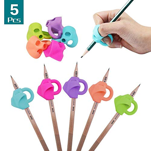 Pencil Grips for Children Silicone Ergonomic Trainer Posture Correction Finger Grip for Kids Students Adults,Handwriting Tools Soft Pens Grips Both for Lefties (5Pcs)