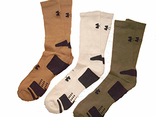Under Armour Men's HeatGear Crew Socks (3 Pair), White, Youth Large
