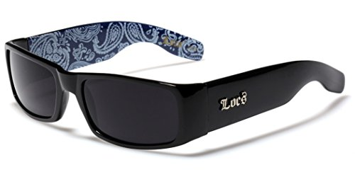 Locs Original Gangsta Shades Men's Hardcore Dark Lens Sunglasses with Bandana Print - Black & - Uk Sunglasses Online