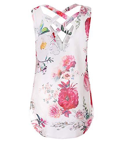 Glissire DEMO Shirt Chemise T Chemisier de Fermeture Dbardeurs Manches col Mousseline Devant Dos Wei en Flower SHOW Sans Soie V Femmes vider pqanrpwH