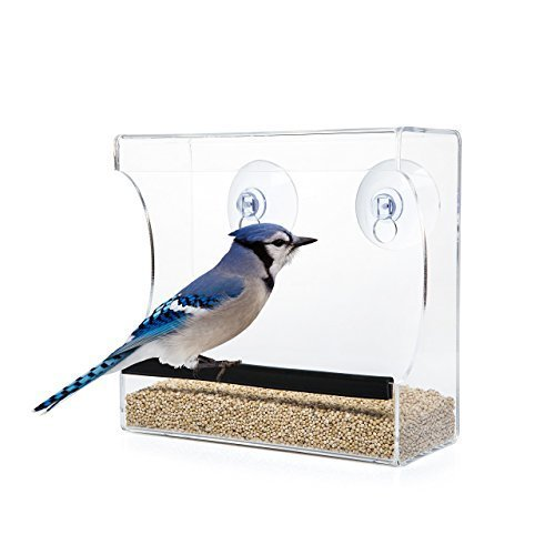 CRYSTAL CLEAR BIRD FEEDER - Suction Window Feeders Birds, Cats and Kids Love - Easy to Clean and Fill - See Cardinals, Finches and Orioles Feed Inches From Kitchen Windows - 100%
