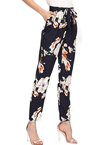 Romwe Women's Casual Floral Print Bow Tie Waist Pocket Slim Ankle Pants Navy M
