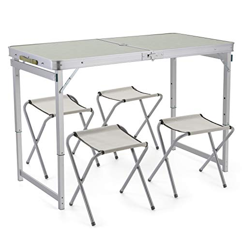 Sunkorto 4-Person Folding Picnic Table with 4 Stools, 4 Feet Aluminum Table Chair Set Heights Adjustable, Portable and Lightweight for Outdoor, Camping, Dining, BBQ Party