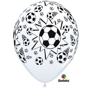 Black & White Football/Soccer Balls Qualatex 11 Inch Latex Balloons x 25 by Qualatex