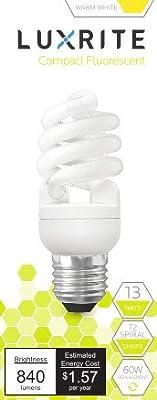 Luxrite LR20175 (10-Pack) 13-Watt CFL T2 Mini Spiral Light Bulb, Equivalent To 60W Incandescent, Warm White 2700K, 900 Lumens, E26 Standard Base