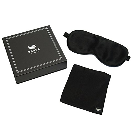100% Silk Hypoallergenic Sleep Mask with Compact Travel Pouch and Gift Box by Brave Era (Raven Black) by Brave Era (Image #6)