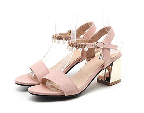 Verano Tacones 6cm con Pink palabra Mujer 35 Sandalias Blue dulce De Para Hebilla Altos Xie 34 Abierta Punta Perla 6RvEn4xp