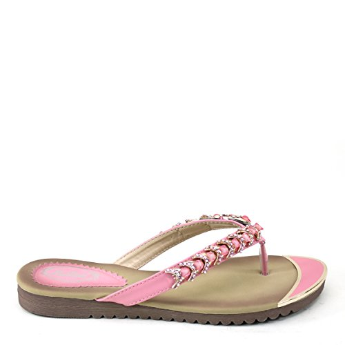 New Brieten Womens Cute Rhinstone Flip-flop Thong T-Strap Comfort Sole Slide Sandals Pink aMqdODLs