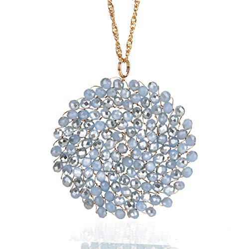 Niumike Hand-Made Crystal Pendant Circle Disc Necklace for Women,Periwinkle Star Shining Long Necklaces, - Pendant Handmade Crystal